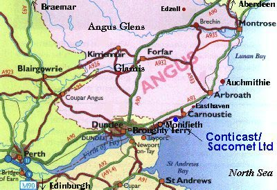 Map of Angus, Scotland